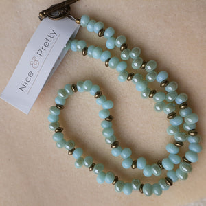 pale blue with hints of pale turquoise bead necklace.. Nice and Pretty Jewelry handcrafted in Canada