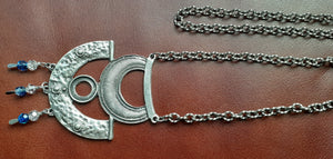 Pewter textured large pendant on heavy chain. Nice and Pretty Jewelry handcrafted in Canada.