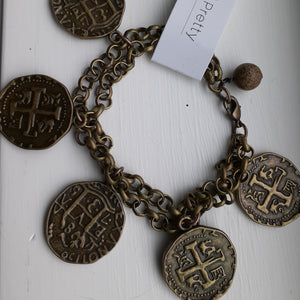 Coin bracelet in antique brass. Nice and Pretty Jewelry. Handmade in Canada