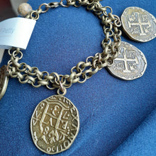 Load image into Gallery viewer, Coin bracelet in antique brass. Nice and Pretty Jewelry. Handmade in Canada