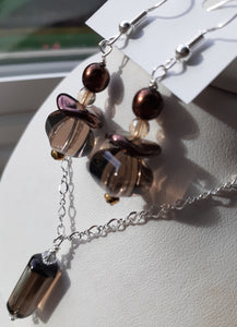 black moss quartz bead necklace and earrings. Nice and Pretty Jewelry