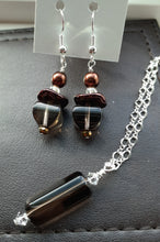 Load image into Gallery viewer, black moss quartz bead necklace and earrings. Nice and Pretty Jewelry