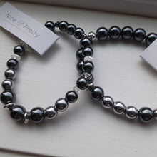 Load image into Gallery viewer, hematite black and silver bracelet. Nice and Pretty Jewelry handcrafted in Canada