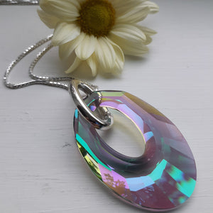 Swarovski crystal helios necklace. Nice and Pretty Jewelry handcrafted in Canada