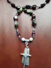 Load image into Gallery viewer, Rustic pewter cross on earthtone beaded necklace. Nice and Pretty Jewelry