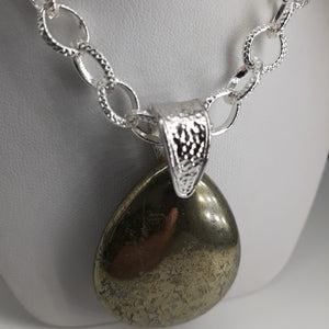 Pyrite pear shaped pendant on silver chain. Nice and Pretty Jewelry handcrafted in Canada.