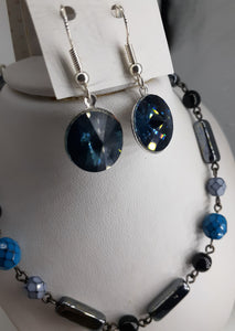 beaded chain hematite and blue. nice and pretty jewelry