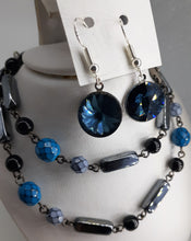 Load image into Gallery viewer, hematite black and blue beaded chain necklace. nice and pretty jewelry