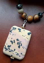 Load image into Gallery viewer, Jasper rectangular shaped pendant on leather cord. Nice and Pretty Jewelry