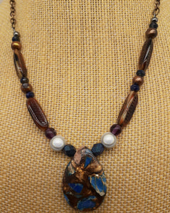 Impression Jasper blue and bronzite stone necklace. Nice and pretty jewelry.