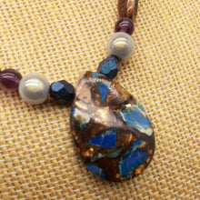 Load image into Gallery viewer, Impression Jasper blue and bronzite stone necklace. Nice and pretty jewelry.
