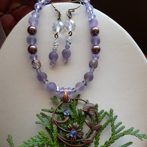 Mauve crystal earrings. Nice and Pretty Jewelry handcrafted in Canada