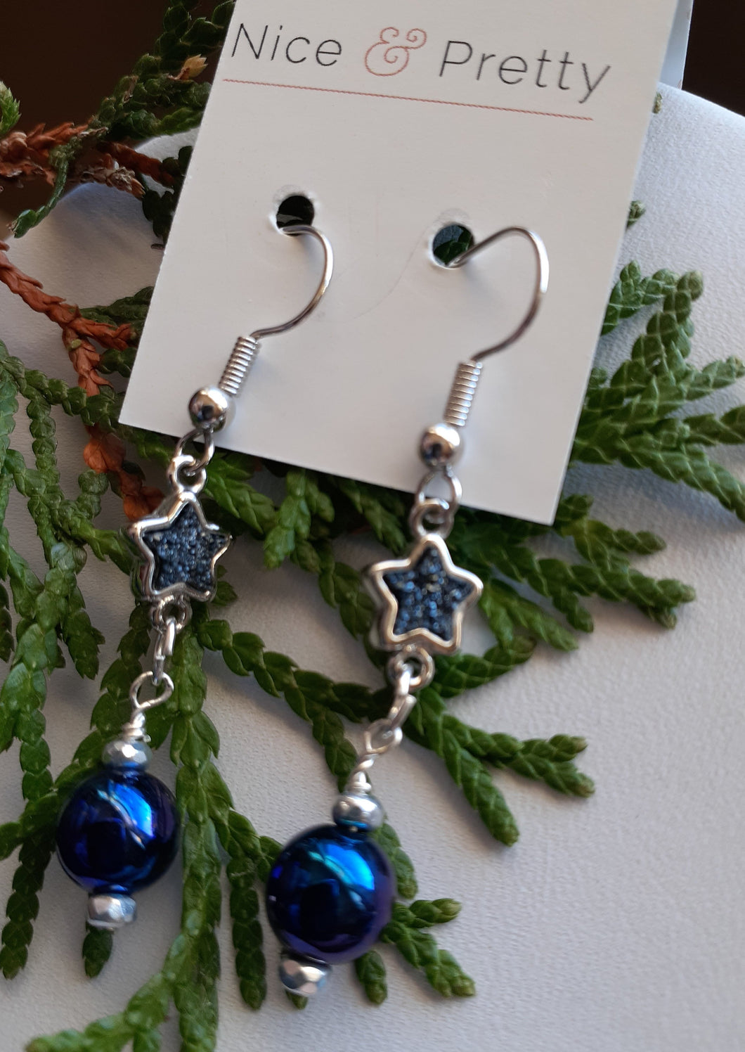 blue druzy star earrings. nice and pretty jewelry