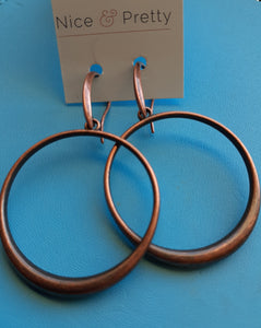 copper hoop earrings. nice and pretty jewelry
