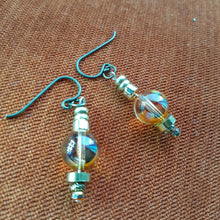 Load image into Gallery viewer, Swarovski crystal globe earrings with bronze accents. Handcrafted in Canada. Nice and Pretty Jewelry