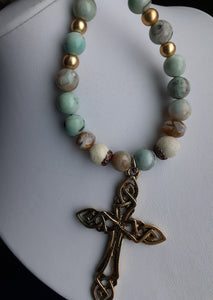 Aquaterre agate bead necklace with gold cross. Nice and pretty jewelry