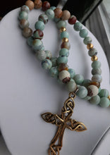 Load image into Gallery viewer, Aquaterre agate bead necklace with gold cross. Nice and pretty jewelry