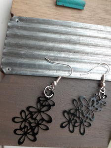Black Lace Flower Earrings
