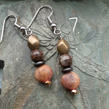 Load image into Gallery viewer, red creek jasper and pyrite earring. copper and red stone bead earrings. nice and pretty jewelry