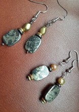 Load image into Gallery viewer, pyrite rectangle stone earrings. black slate gray earrings. nice and pretty jewelry