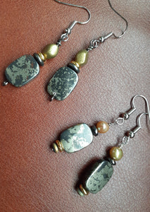 pyrite rectangle stone earrings. black slate gray earrings. nice and pretty jewelry