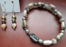 Load image into Gallery viewer, pyrite and agate stone bracelet. earthtone stone bracelet. nice and pretty jewelry