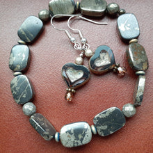 Load image into Gallery viewer, pyrite small bead bracelet. small gray stone bracelet. nice and pretty jewelry