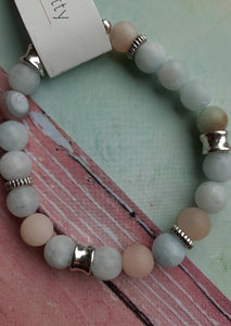 morganite bracelet. pastel bead bracelet. semi-precious stone bracelet. nice and pretty jewelry