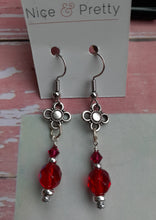 Load image into Gallery viewer, red crystal drop earrings. nice and pretty jewelry.com