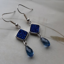 Load image into Gallery viewer, blue druzy earrings. nice and pretty jewelry