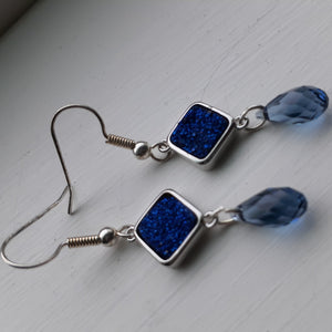 blue druzy earrings. nice and pretty jewelry