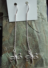 Load image into Gallery viewer, sterling silver ear threads with dragonflies. nice and pretty jewelry