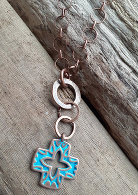 blue greek cross on copper necklace. nice and pretty jewelry