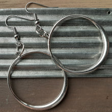 Load image into Gallery viewer, silver hoop earrings. nice and pretty jewelry