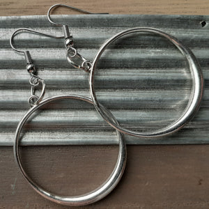 silver hoop earrings. nice and pretty jewelry