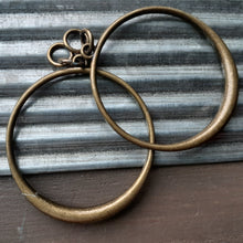 Load image into Gallery viewer, antique bronze hoop earrings. nice and pretty jewelry
