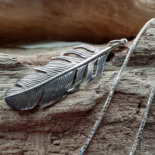 Load image into Gallery viewer, sterling silver feather pendant. nice and pretty jewelry
