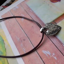 Load image into Gallery viewer, hammered silver heart on leather cord necklace. nice and pretty jewelry