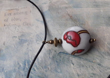 Load image into Gallery viewer, poppy pendant. Golem ceramic bead poppy design. nice and pretty jewelry