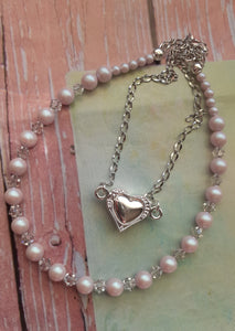 pale pink pearls and crystal necklace. nice and pretty jewelry