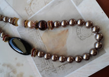 Load image into Gallery viewer, bronze pearls black onyx necklace. nice and pretty jewelry