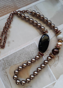 bronze pearls black onyx necklace. nice and pretty jewelry