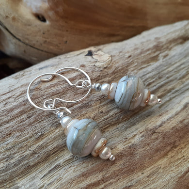 pale blue and sand handmade bead earrings. nice and pretty jewelry.