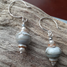 Load image into Gallery viewer, white taupe gray handmade bead earrings. nice and pretty jewelry