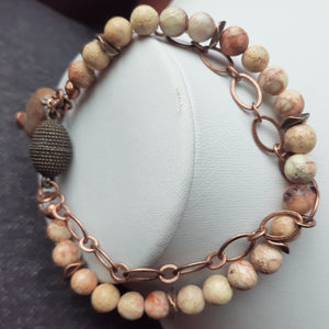 natural white impression jasper. peach stone and copper bracelet. nice and pretty jewelry