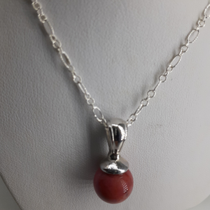 Rust agate pendant on silver chain. Nice and Pretty Jewelry