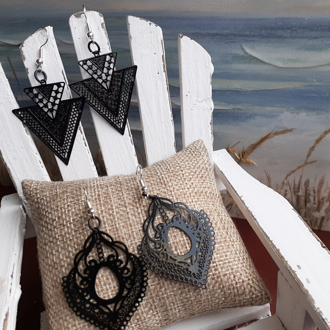 Black lacey look earrings.  Black laser cut earrings in lacey oval or triangle shape. Artisan made. Nice & Pretty Jewelry. Canada