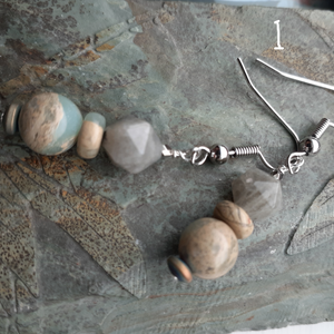 Agate and Labradorite stone earrings. nice and pretty jewelry. blue gray tan earrings.