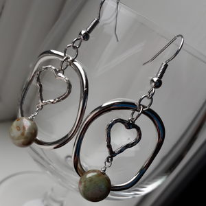 hoops with heart dangles. heart earrings. nice and pretty jewelry
