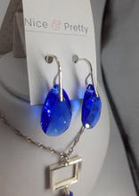 Load image into Gallery viewer, Swarovski crystal pear shaped blue earrings. Nice and Pretty jewelry